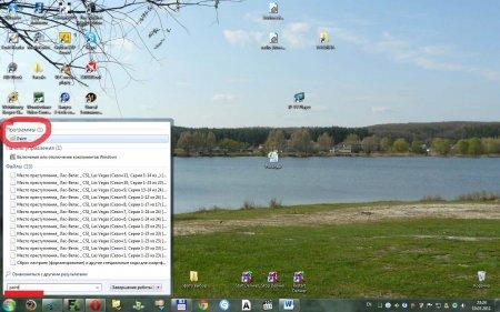 Скриншот экрана компьютера. Пример поиска программы Paint