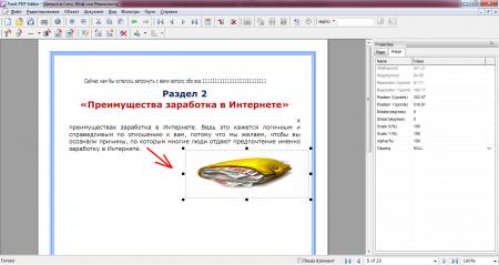 Редактор pdf файла меняет параметры картинки