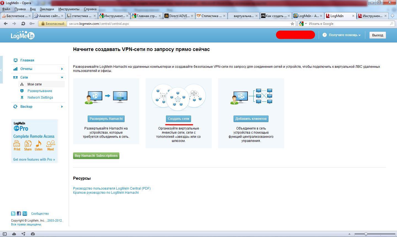 Создание сети через интернет программой Hamachi