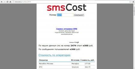 Стоимость смс на короткие номера