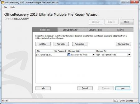 В приложении Multiple File Repair Wizard нажав «Start Recovery Wizard» добавляем поврежденный файл docx
