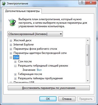 Компьютер. Дополнительные параметры электропитания