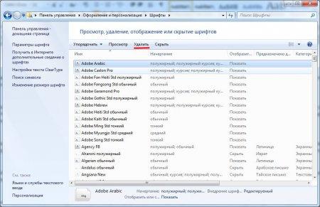 Как установить шрифты для фотошопа? Как установить шрифты в Windows 7? Панель управления, удаление шрифтов