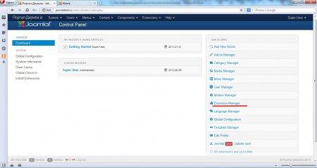 Установка Joomla на Денвер. Панель управления joomla