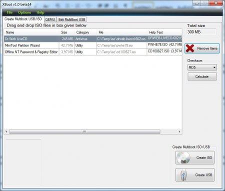 Добавляем образы в программу XBoot для создания мультизагрузочной флешки