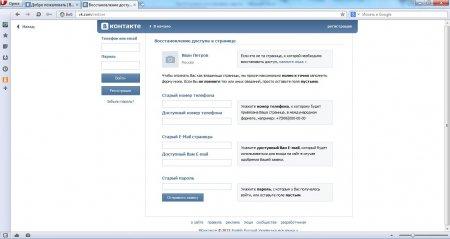 Заполняем форму для восстановления доступа к странице В Контакте