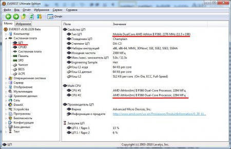 Просмотра параметров компьютера программой EVEREST