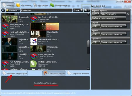 рабочее окно Xvid4PSP