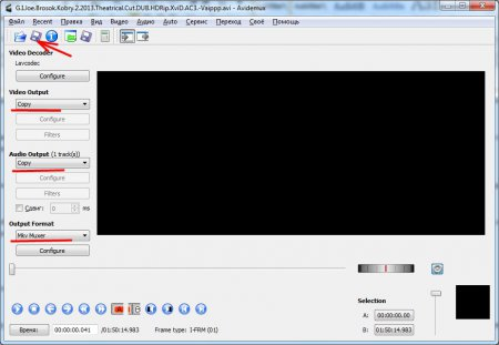 Настройка Avidemux для изменения контейнера видео без перекодировки