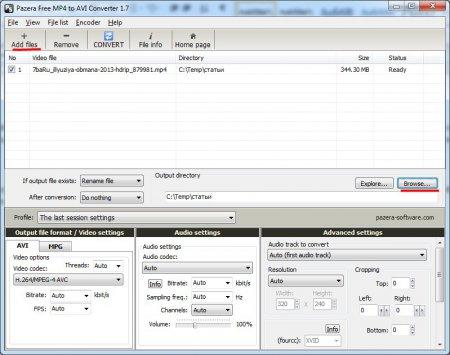 Добавляем файл в программу Free MP4 to AVI Converter