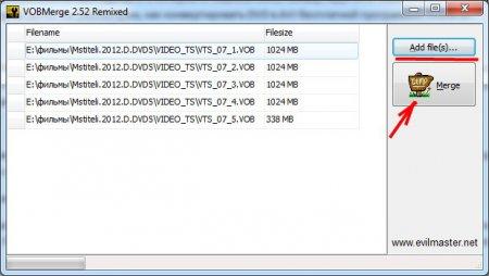 Собираем VOB файлы программой VOBMerge