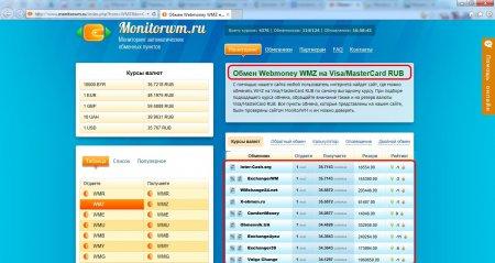 Перевод денег webmoney на карту. Пример выбора обменника в мониторинге обменных пунктов
