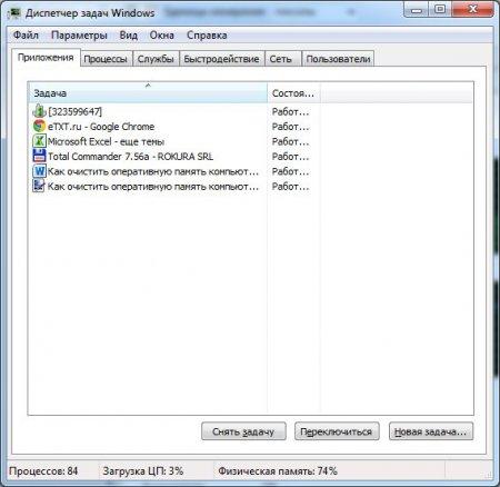 Список запущенных приложений. Как освободить оперативную память компьютера
