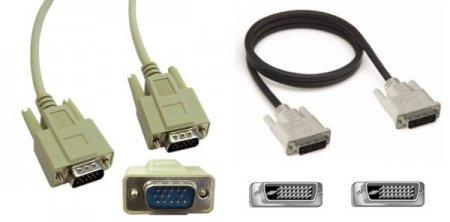 Шнуры подключения монитора VGA и DVI