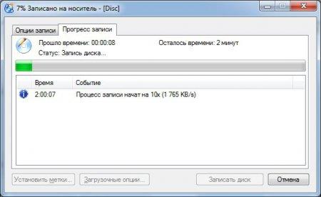 Процесс записи диска с данными