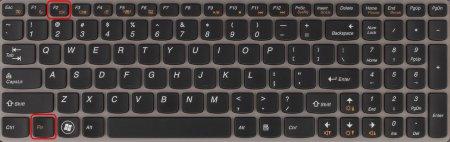 Комбинация клавиш выключения подсветки экрана ноутбука на первом экземпляре