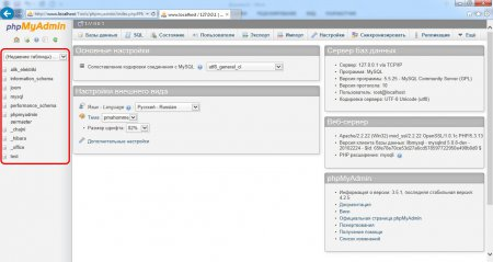Все базы данных в phpMyAdmin