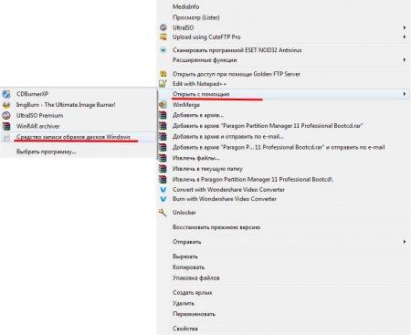 Запись ISO образа через Windows
