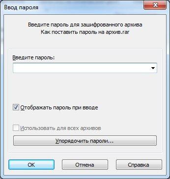 Окошко запроса пароля в WinRAR при открытии файла