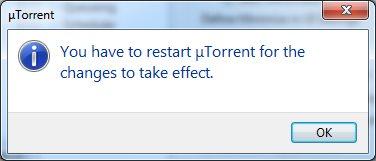 Предложение перезапустить программу µTorrent