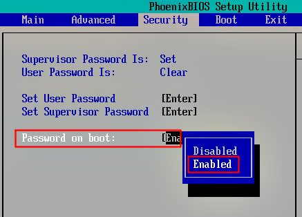 Password on boot