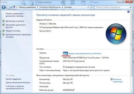 Значение индекса производительности Windows
