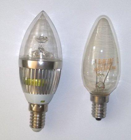 LED лампа 9 Вт E14 в сравнении с лампой накаливания
