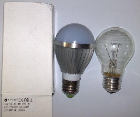 Сравнение LED 9 Вт E27 XY-Light с лампой накаливания