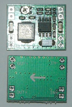 Понижающий регулируемый DC-DC преобразователь на чипе XM1584 вид сверху и снизу