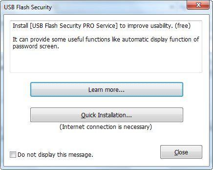 Предложение установить USB Flash Security