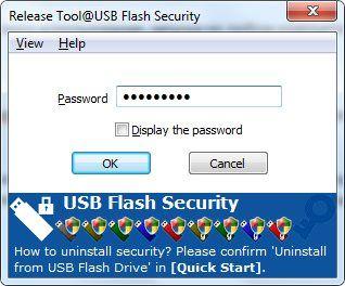Ввод пароля для доступа к флешке в USB Flash Security