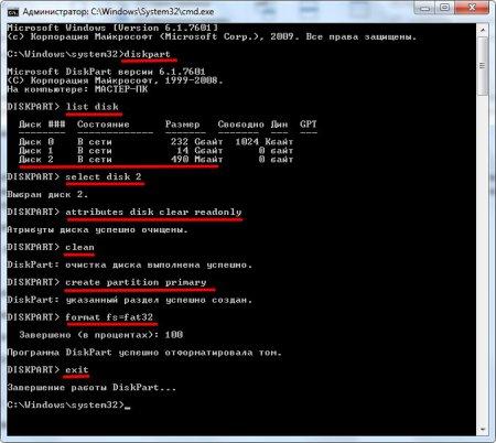 Весь процесс форматирования защищенной от записи флешки через командную строку программой DiskPart