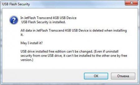 Предупреждение об удалении всех файлов в USB Flash Security