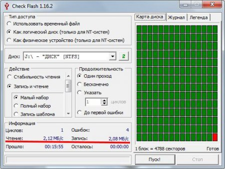 Программа тестирования скорости флешки  Check Flash
