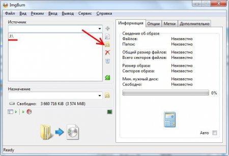 Выбираем источник файлов для образа в ImgBurn