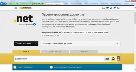 Стартовая страница для поиска свободного домена