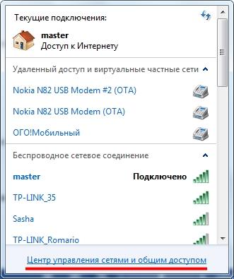 Список доступный WiFi подключений