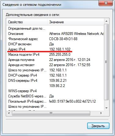 IP адрес в сведениях о подключении