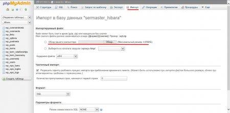 Импортируем базу данных сайта на хостинг