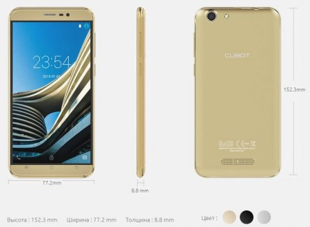 Габариты CUBOT NOTE S 3G