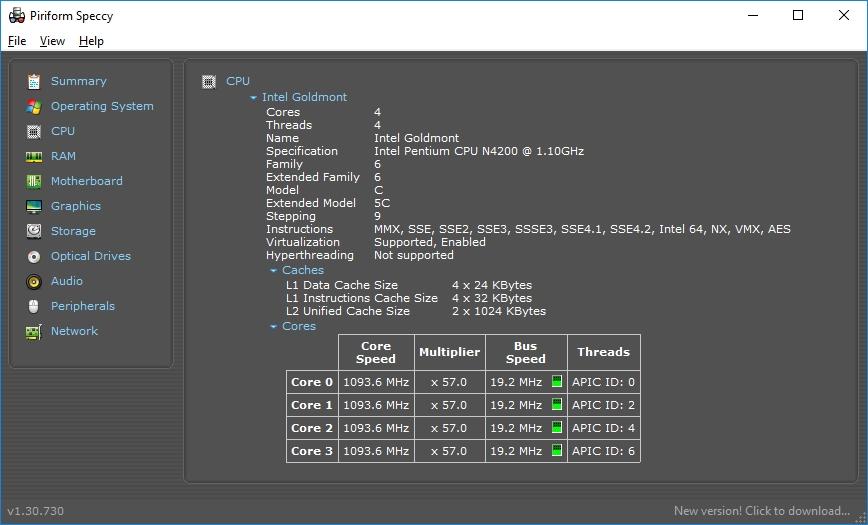 Данные процессора компьютера в программе Speccy